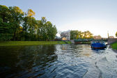View of St. Petersburg. River channel with boats — Stock Photo