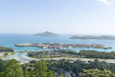 Aerial view on the coastline of the Seychelles Islands and luxury Eden Island from Victoria viewpoint, Mahe — Stock Photo