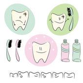 Ikonen, illustrationen zum thema zahnpflege für kinder — Stockvektor