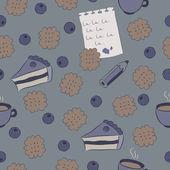 Patrones sin fisuras con tortas, arándano y café. — Vector de stock