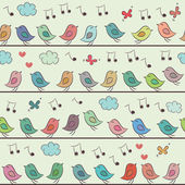 Seamless pattern of colorful cartoon birds. — Stock Vector