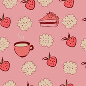 Seamless pattern with cakes, strawberries and coffee. — Stockvector