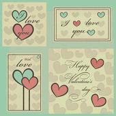 Set cards Happy Valentine's Day, vintage — Stock Vector
