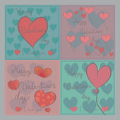 Set of cartoon banners with hand drawn hearts for Valentines day. — Stock Vector