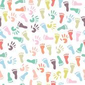 Bebé handprint y huella, de patrones sin fisuras — Vector de stock