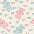 Stock Vector: Seamless pattern with teddy bears and hearts.