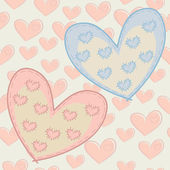 Seamless Valentine's Day pattern with hearts with attached patches. — Vector de stock
