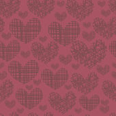 Seamless pattern with embroidery of hearts — Stock Vector