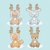 Children's Christmas cartoon animals set — Stock Vector