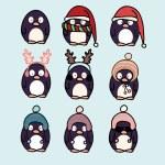 Penguins cartoon set — Stok Vektör