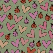 Romantic seamless pattern with ladybugs, hearts — Stock Vector