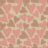 Polka dots hearts seamless pattern — Stock Vector