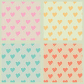Set of hearts seamless patterns — Stok Vektör