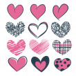 Set of hearts hand drawn — Wektor stockowy #37807023