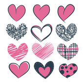 A set of hearts hand drawn — Stock Vector