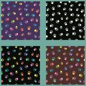 Set of seamless patterns with prints of animals — Stockvektor