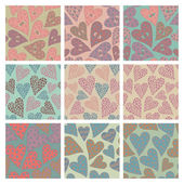 Set of vector seamless pattern with hearts — Stock Vector