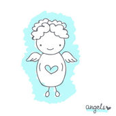 Sketch with cute angel — Stock Vector