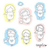 Set of cute sketch angels — Stock Vector