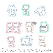 Set of sketch with cats — Stock Vector