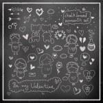 Chalk board romantic set in vector — Stock Vector #49003839