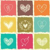 Set of hand draw hearts — Stock Vector