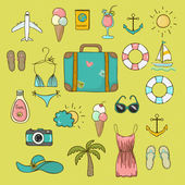 Collection of vector icons on vacation — Stock Vector