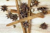 Cinnamon, Cardamon, Star Anise — Stock Photo