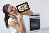 Woman with tablet PC — Stock Photo