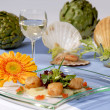 Stock Photo: Artichoke and shellfish