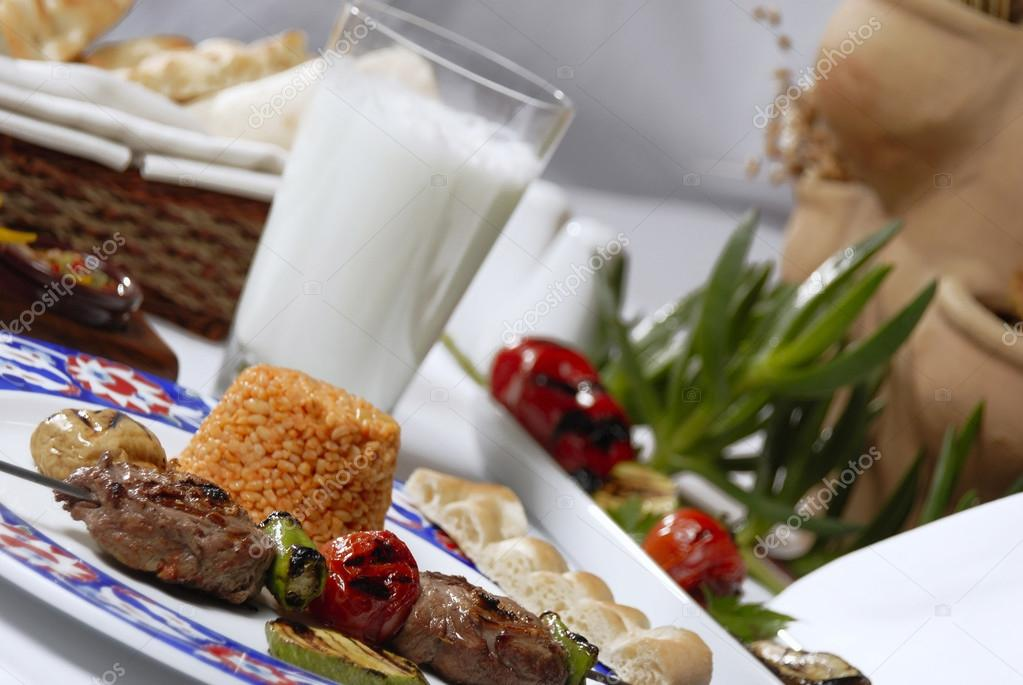 Lamb meat shish kebab and ayran — Stock Photo #13814527