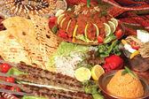 Sish kebab bulgur pilaf and pepper pure — Stock Photo
