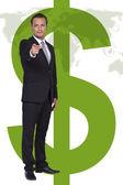Businessman and world money icons — Stock Photo