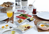 Rich and delicious Turkish breakfast — Stockfoto