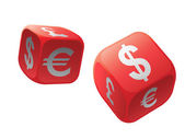 Gamble with money dice — Stock Photo
