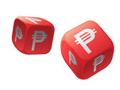 Gamble with money dice — Foto de Stock