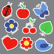 Set og elements for scrapbooking bird flower heart — 图库矢量图片