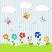Background with flowers and flying dragonflies — Stock Vector