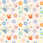 Seamless pattern with flowers and butterflies — Vector de stock