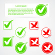 Vector check mark stickers and banner — Vector de stock