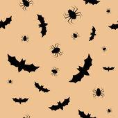 Nahtlose muster mit fledermäuse und spinnen — Stockvektor