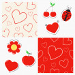 Stock Vector: Set of elements for your design - seamless patterns with hearts and cute red stickers with tape for scrapbook