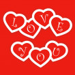 Royalty-Free Stock Vector: Red card with paper hearts for Valentine\'s day