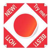 Uppsättning röda klistermärken för paketet design — Stockvektor