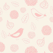 Floral seamless pattern in retro style with birds — Stock Vector