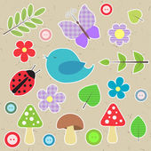 Set of scrapbook elements - animals, nature, buttons — Stock Vector