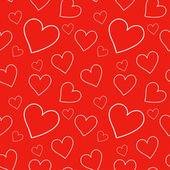 Röd seamless mönster med hjärtan — Stockvektor
