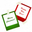 Stock Vector: Chrismas photo stickers with tape