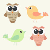 Set of adorable owls and cute birds — Stock Vector