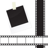 Photo frame sticker with tape and film strip frame set — Stock Vector